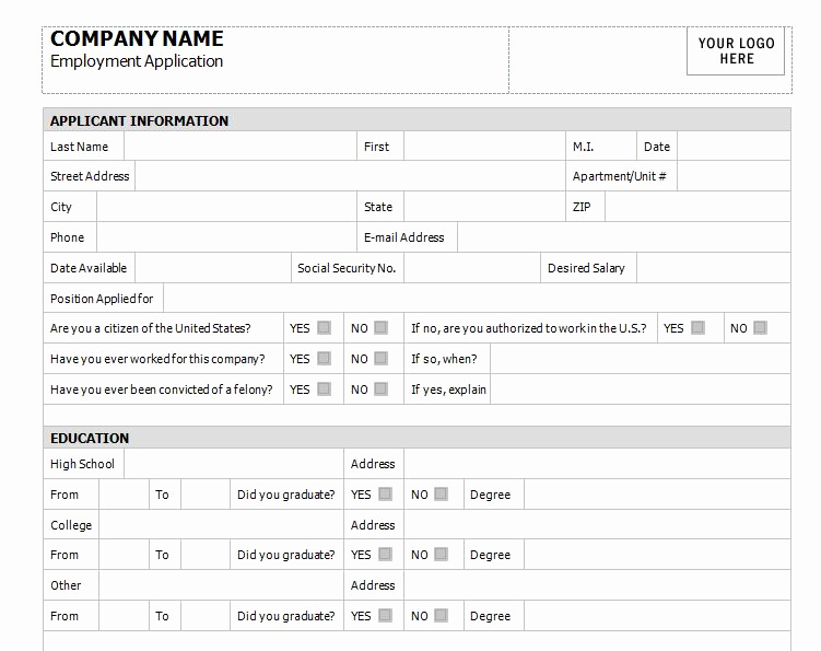 Application for Employment Templates Best Of Application for Employment Template