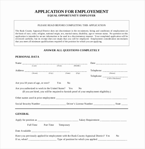 Application for Employment Templates Elegant 21 Employment Application Templates Pdf Doc