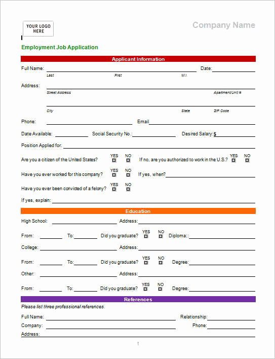 Application for Employment Templates Inspirational 22 Employment Application form Template Free Word Pdf