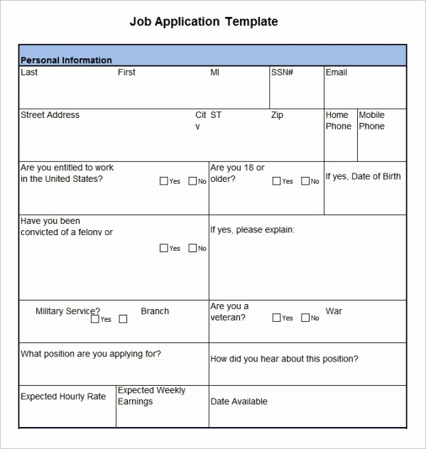 Application for Employment Templates New Job Application Template 19 Examples In Pdf Word