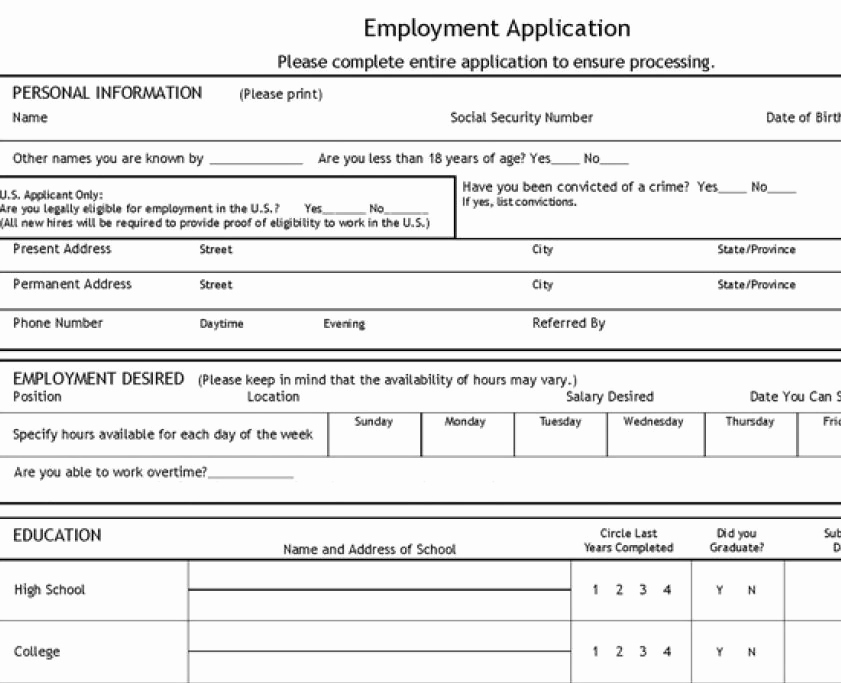 Application for Employment Templates New Job Application Template