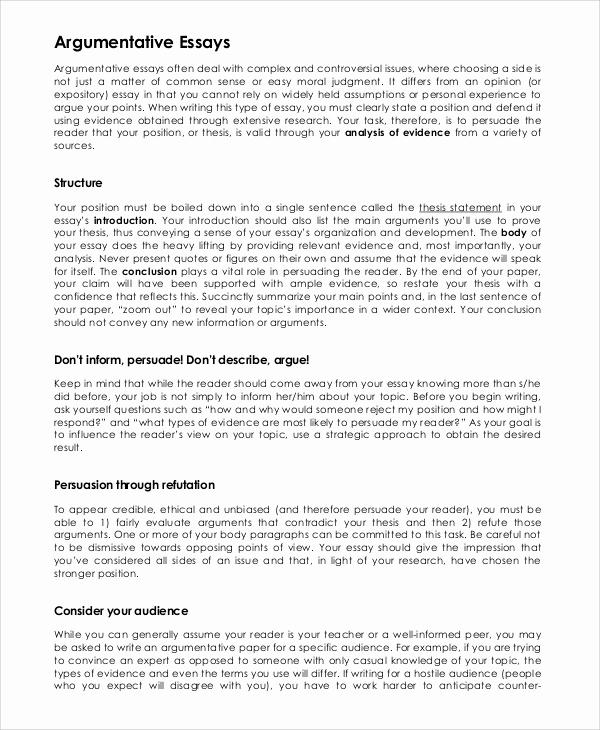 Argumentative Essay Sample Pdf Beautiful 57 Argumentative Persuasive Essay Examples Argumentative