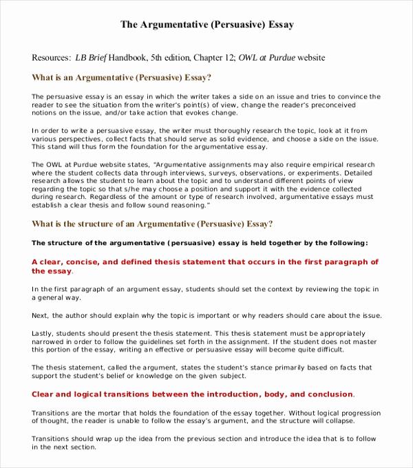 Argumentative Essay Sample Pdf Best Of 8 Argumentative Essay Examples