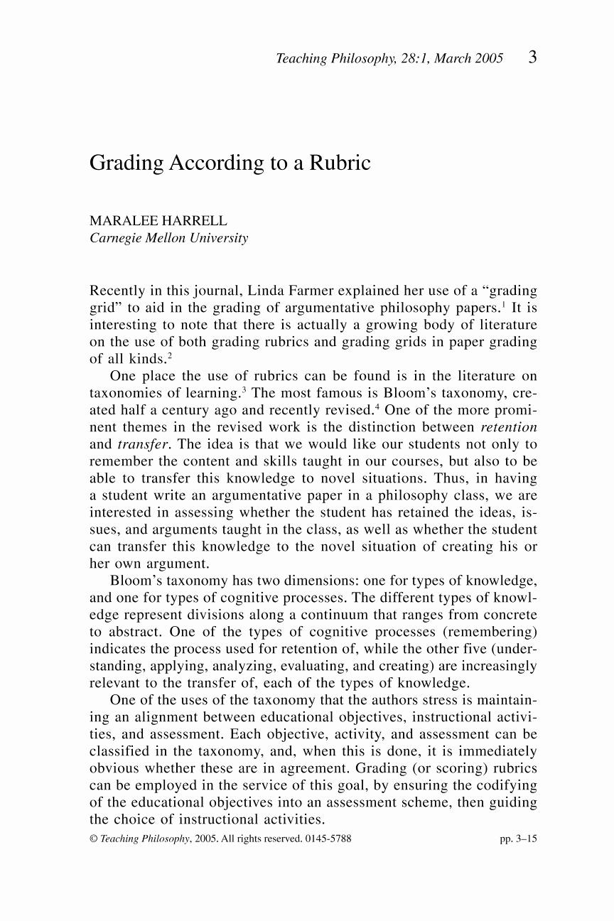 Argumentative Essay Sample Pdf Best Of Grading According to A Rubric Maralee Harrell Teaching