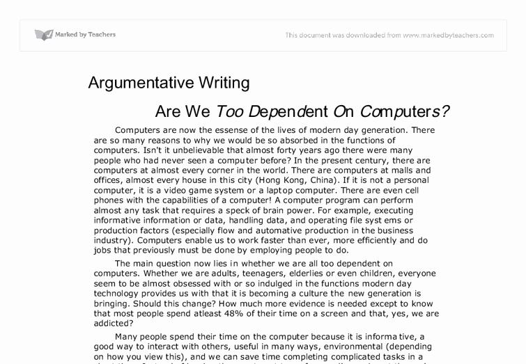 Argumentative Essay Sample Pdf Luxury Argumentative Writing are We too Dependent On Puters