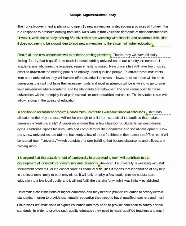 Argumentative Essay Sample Pdf New 9 Argumentative Essay Examples