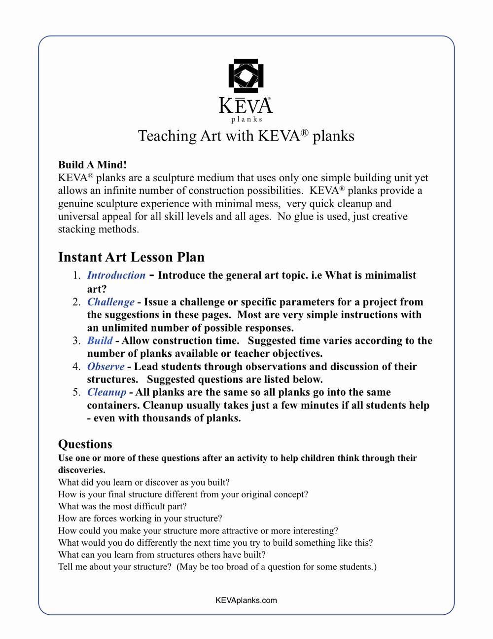 Art Lesson Plan Template Inspirational Lesson Plans Challenges Games & Activities — Keva Planks