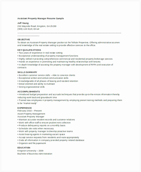 Assistant Property Manager Job Description Unique assistant Property Manager Resume Sample