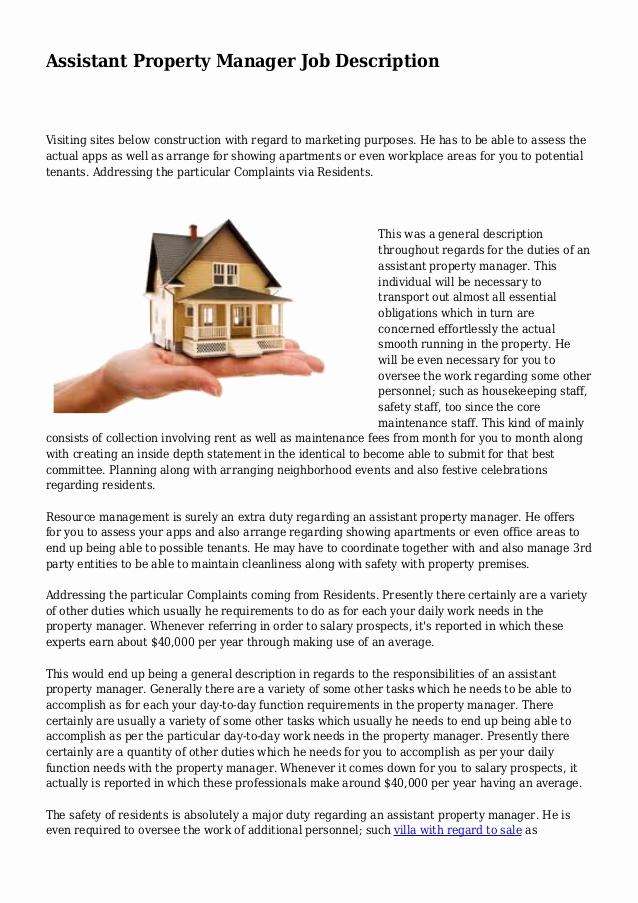 Assistant Property Manager Job Descriptions Awesome assistant Property Manager Job Description