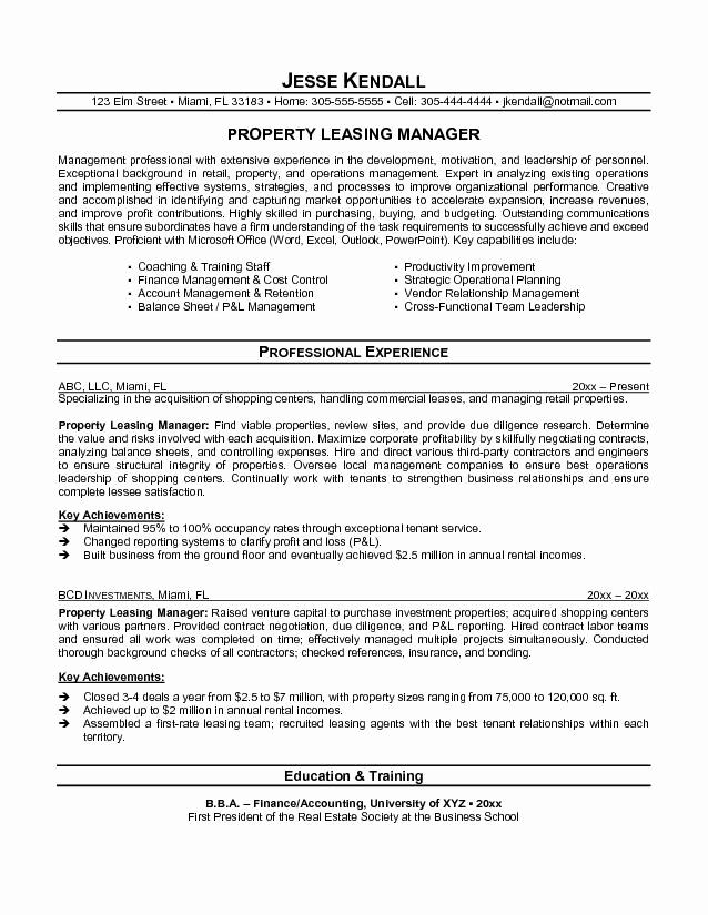 Assistant Property Manager Job Descriptions Best Of Property Management Job Description for Resume