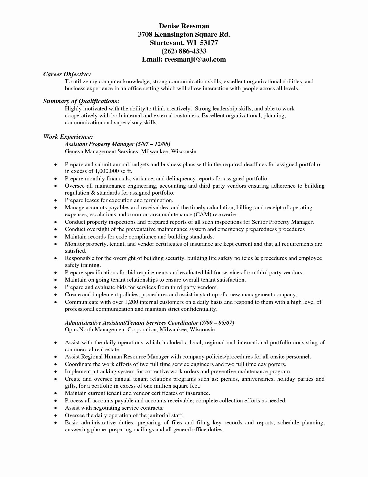Assistant Property Manager Job Descriptions Elegant assistant Property Manager Resume