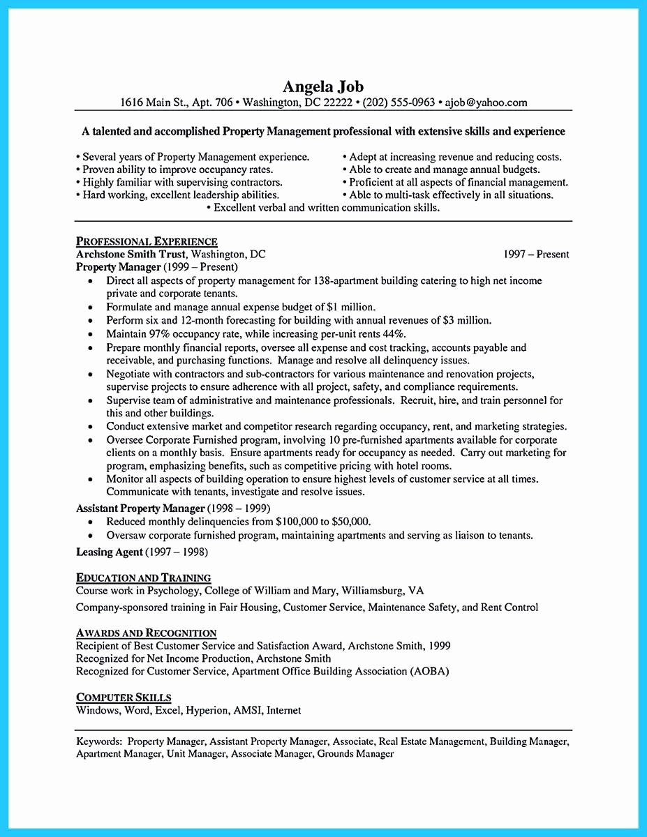 Assistant Property Manager Job Descriptions Fresh Writing A Great assistant Property Manager Resume