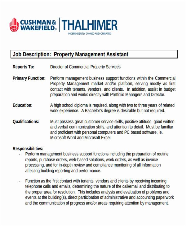 Assistant Property Manager Job Descriptions Inspirational 13 Management Job Description Samples