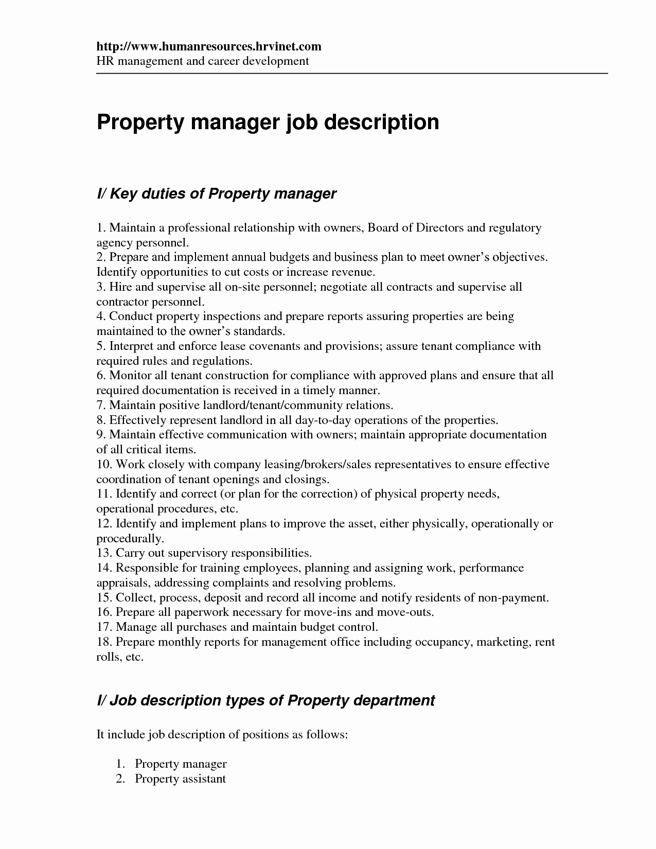 Assistant Property Manager Job Descriptions Inspirational Best S Of Restaurant Manager Job Description
