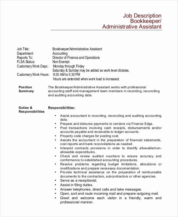 Assistant Property Manager Job Descriptions Lovely 8 Bookkeeper Job Description Samples