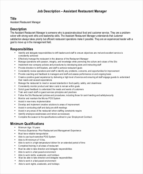 Assistant Property Manager Job Descriptions Lovely Restaurant assistant Manager Resume Responsibilities