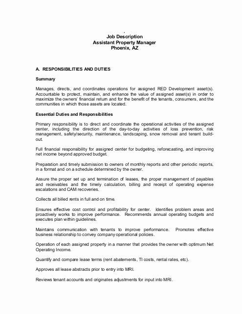Assistant Property Manager Job Descriptions New Job Description assistant Property Manager Phoenix Az