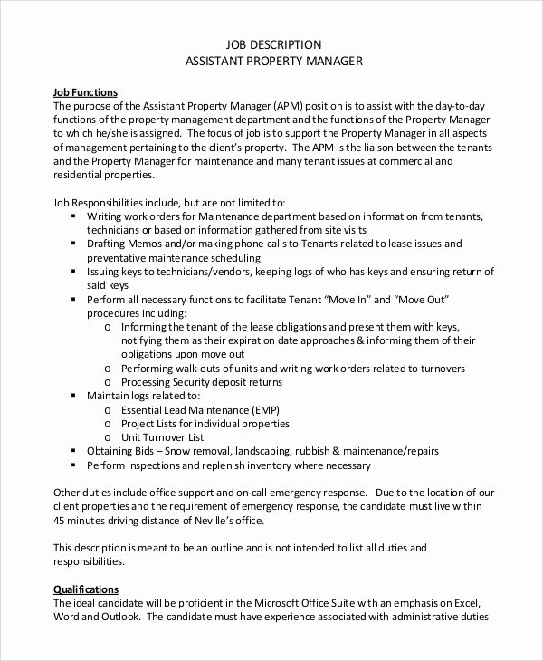 Assistant Property Manager Job Descriptions Unique 9 Property Manager Job Description Samples