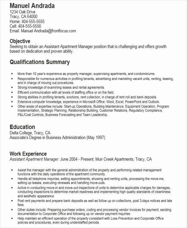 Assistant Property Manager Resume Elegant 44 Free Manager Resumes