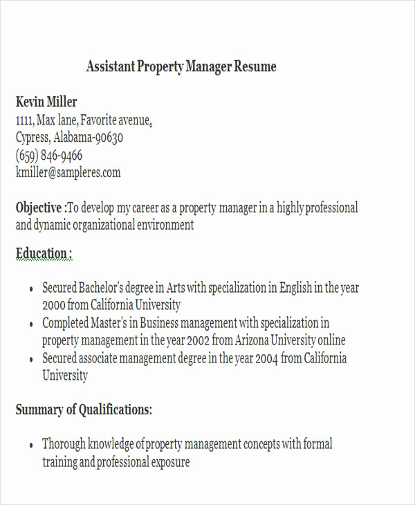 Assistant Property Manager Resume Inspirational 32 Manager Resume Templates Pdf Doc