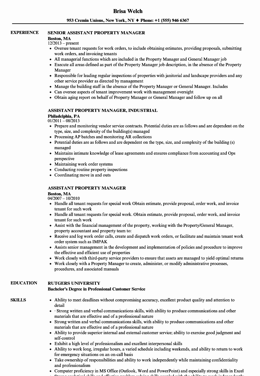 Assistant Property Manager Resume Inspirational assistant Property Manager Resume Samples