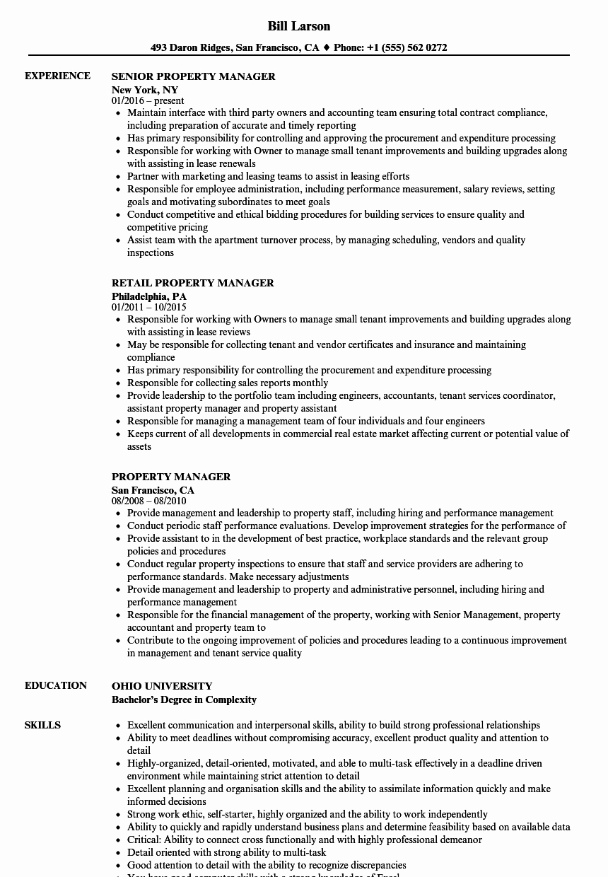 Assistant Property Manager Resume Luxury Property Manager Resume Samples
