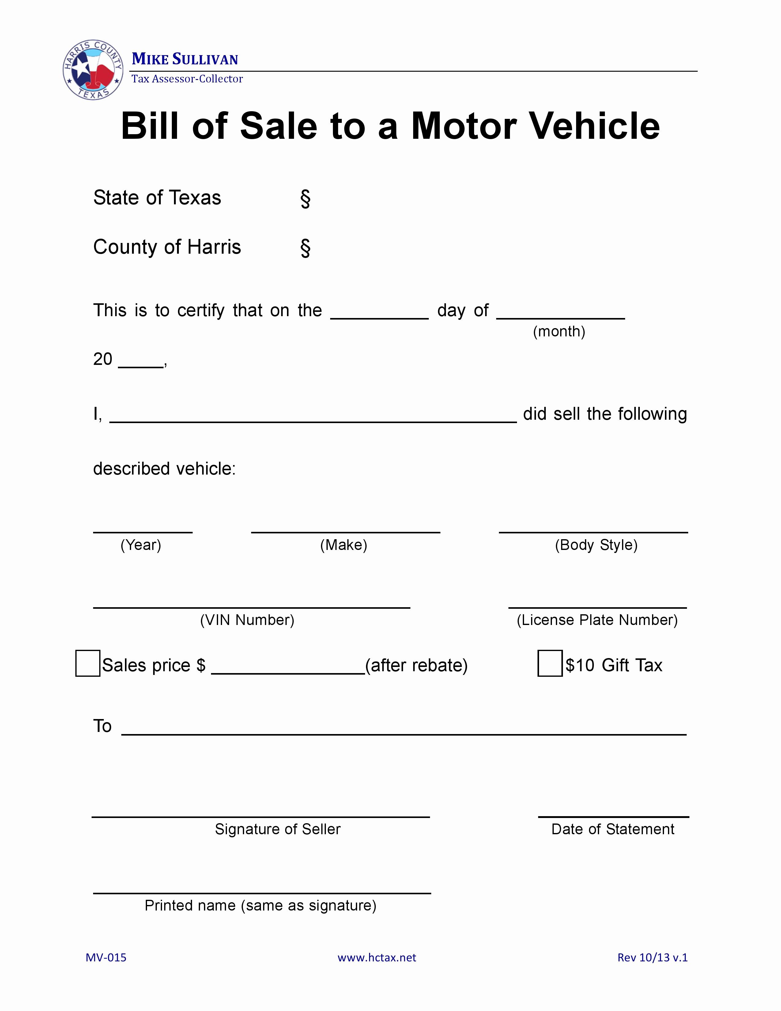 Auto Bill Of Sale Texas Elegant Free Harris County Texas Motor Vehicle Bill Of Sale Mv