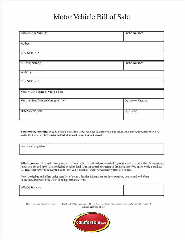 Auto Bill Of Sale Texas Lovely Free Printable Motor Vehicle Bill Sale