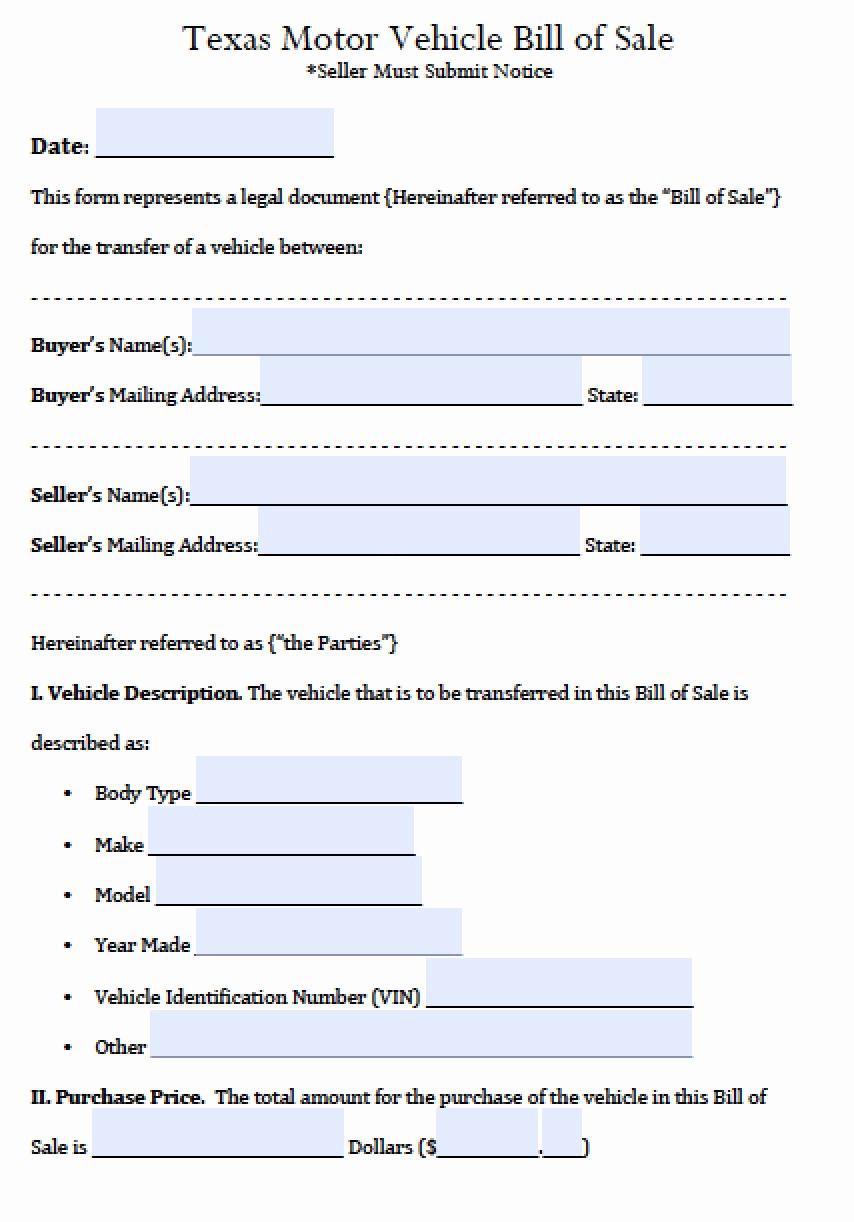 Auto Bill Of Sale Texas Luxury Free Texas Motor Vehicle Bill Of Sale form Pdf