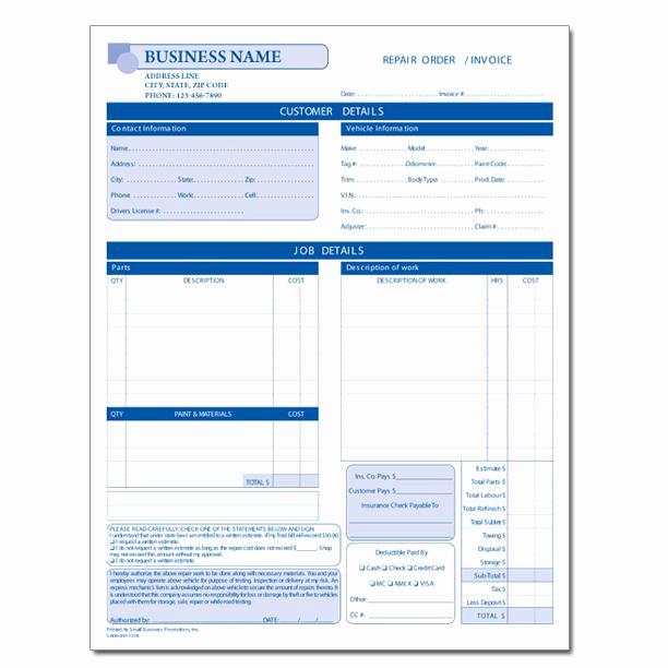 Auto Repair Estimate Template Awesome Automotive Repair Invoice Work order Estimates
