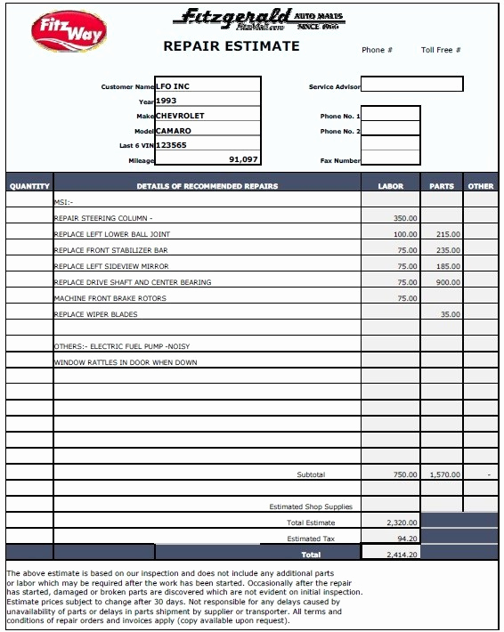 Auto Repair Estimate Template Fresh 13 Free Sample Auto Repair Estimate Templates Printable