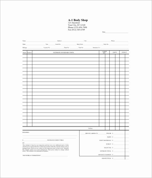 Auto Repair Estimate Template Fresh Invoice software Invoicing software Quote software