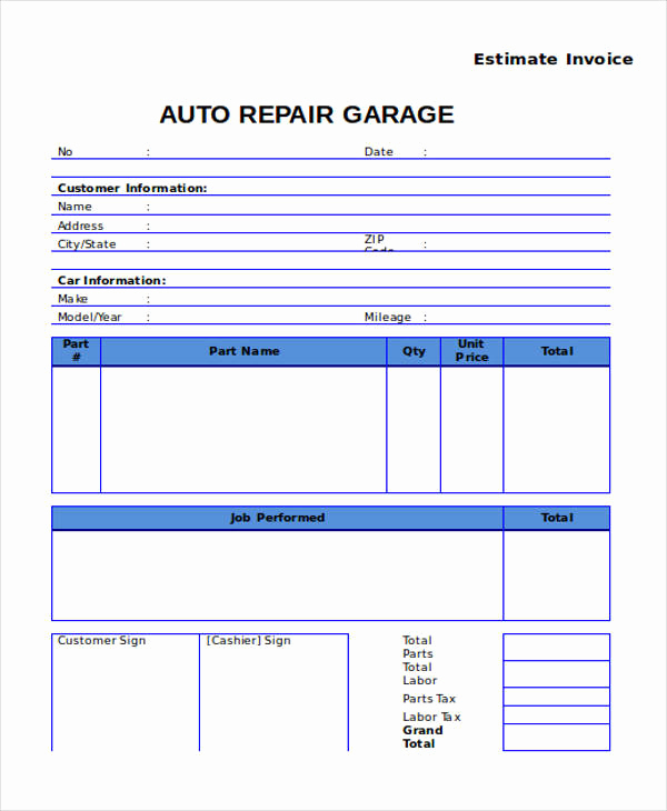 Auto Repair Estimate Template Inspirational 7 Auto Repair Invoice Templates – Free Sample Example