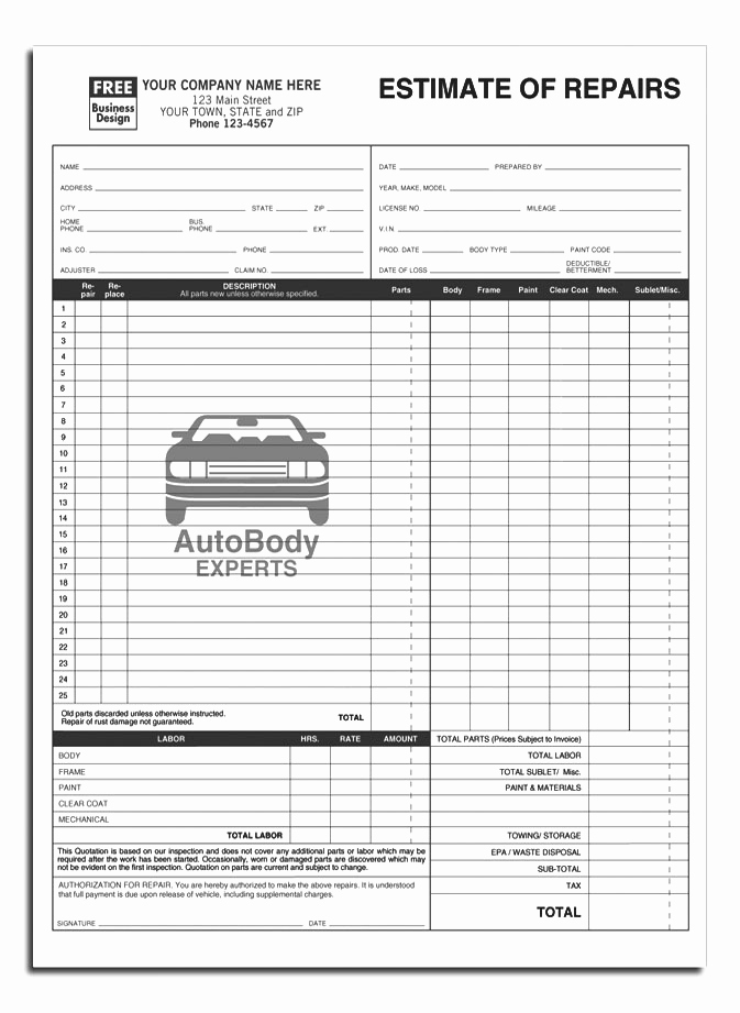 Auto Repair Estimate Template Lovely Anchorside Carbonless form Templates
