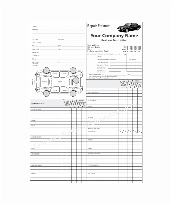 Auto Repair Estimate Template Luxury Auto Repair Estimate Template Excel