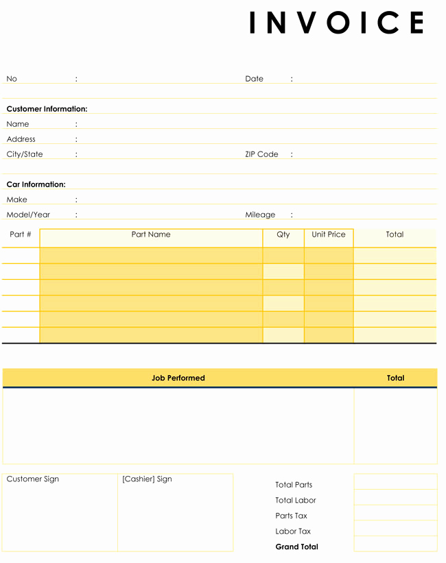 Auto Repair Invoice Template Awesome Auto Repair Invoice Templates 10 Printable and Fillable