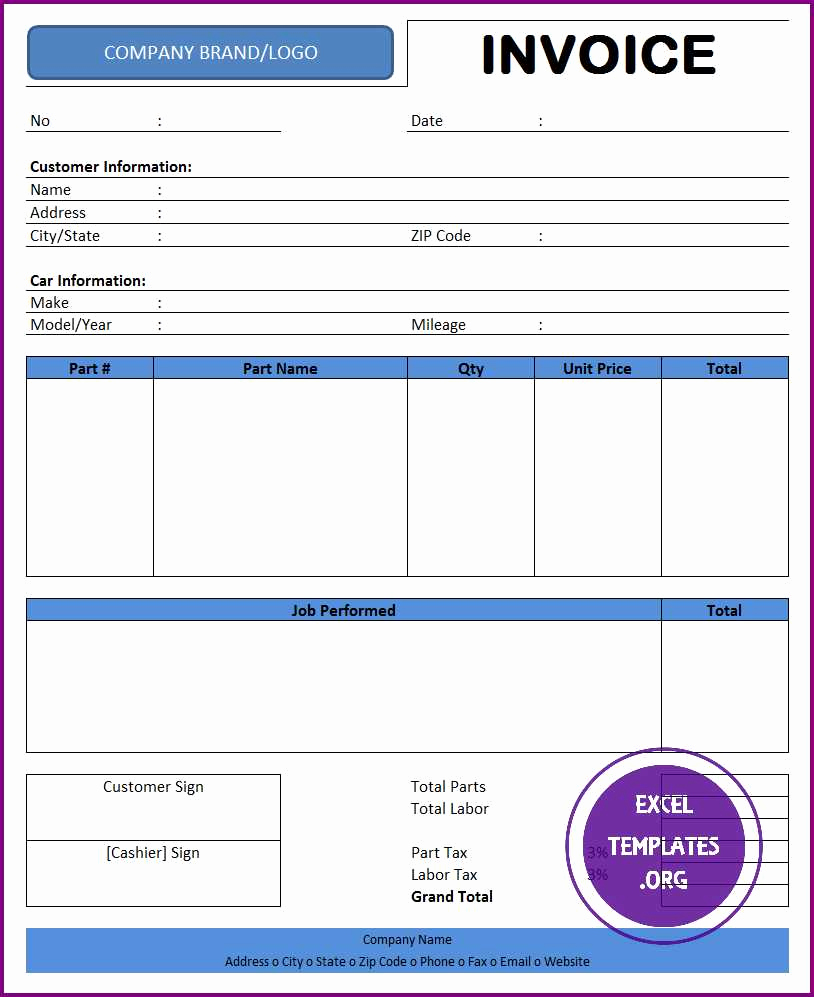 Auto Repair Invoice Template Beautiful Auto Repair Invoice Template Excel Templates