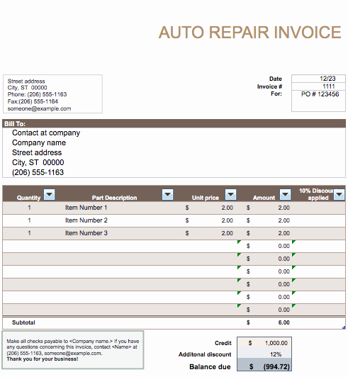 Auto Repair Invoice Template Inspirational Auto Repair Invoice Template Word