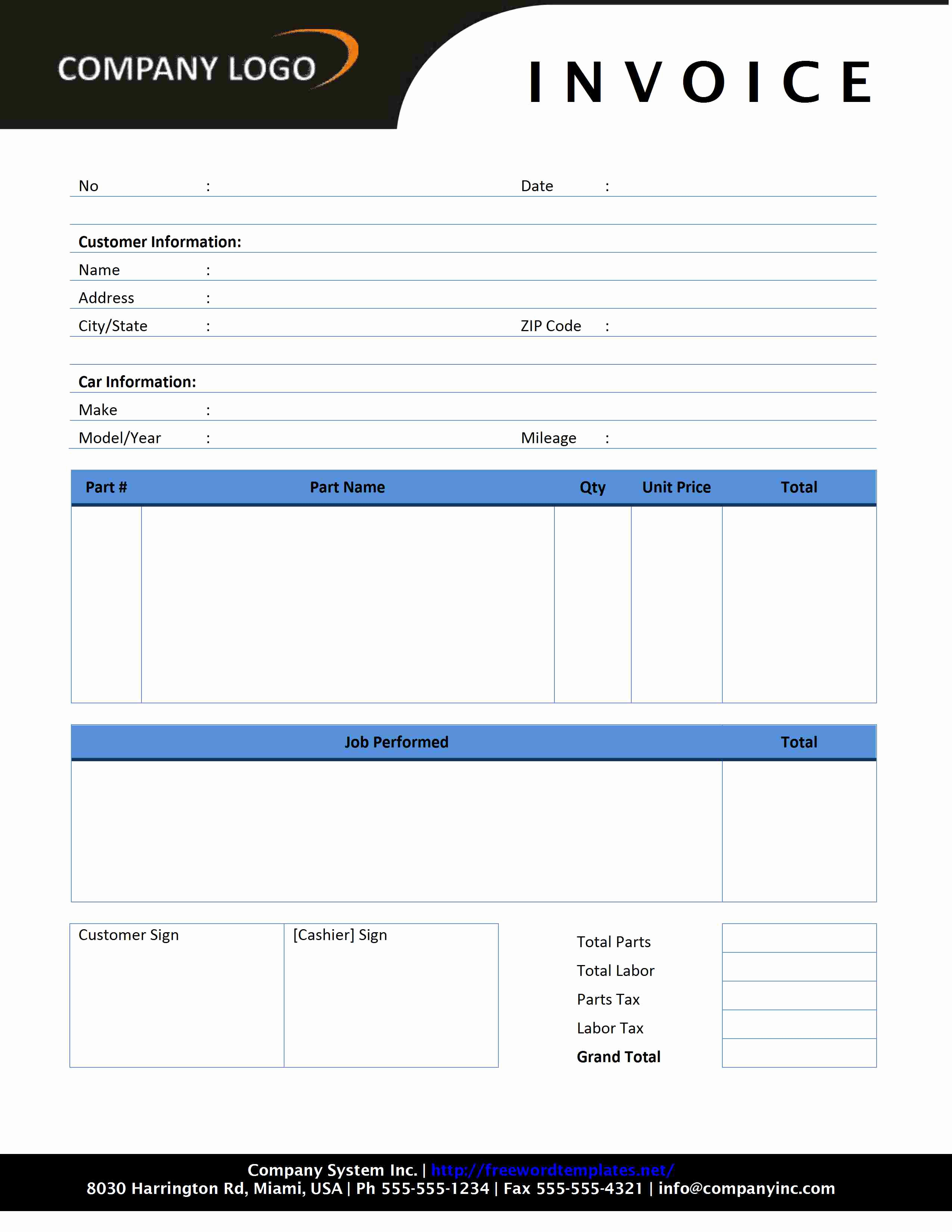 Auto Repair Invoice Template Lovely Auto Repair Invoice