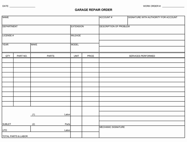 Auto Repair Invoice Template Luxury Auto Repair Invoice Templates 10 Printable and Fillable