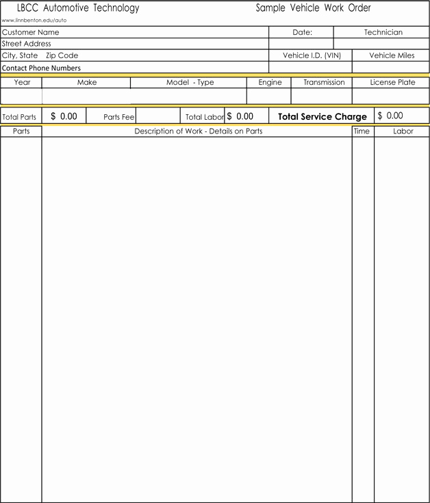 Auto Repair Invoice Template Unique Auto Repair Invoice Templates 10 Printable and Fillable
