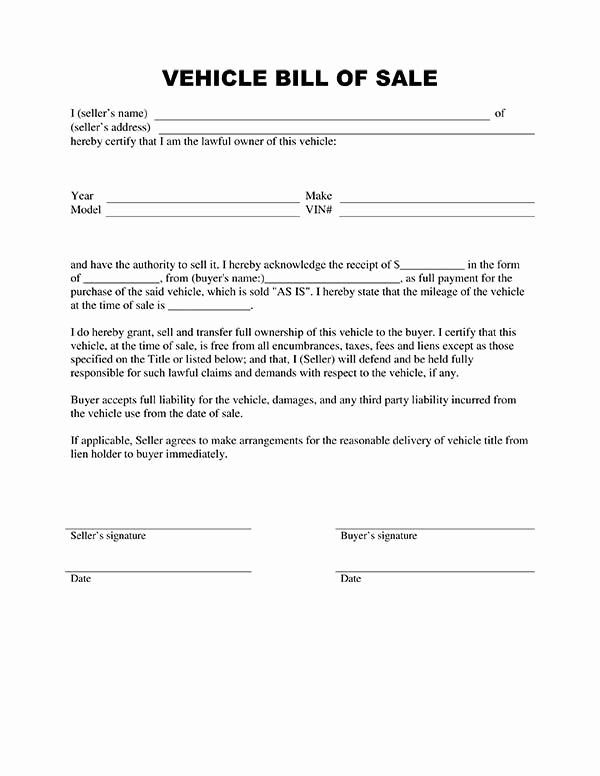 Automobile Bill Of Sale Template Awesome Bill Of Sale form Template