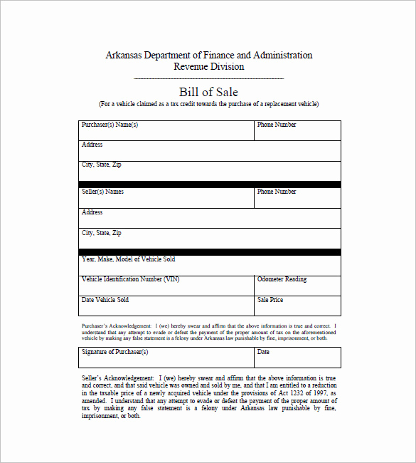 Automobile Bill Of Sale Template Best Of Car Bill Of Sale – 10 Free Sample Example format