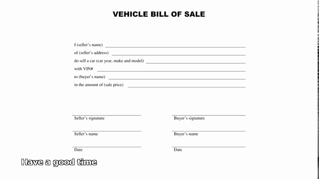 Automobile Bill Of Sale Template Fresh Bill Of Sale Car
