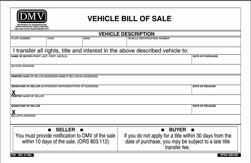 Automobile Bill Of Sale Template Inspirational Bill Of Sale form Template Vehicle [printable]