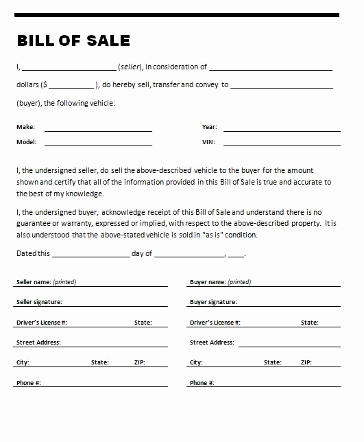 Automobile Bill Of Sale Template Inspirational Free Printable Car Bill Of Sale form Generic