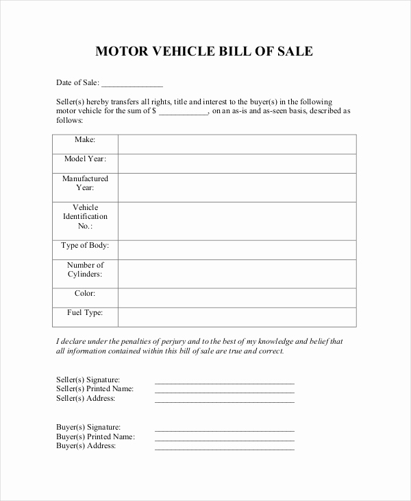 Automobile Bill Of Sale Template Luxury Blank Bill Of Sale Template 7 Free Word Pdf Document