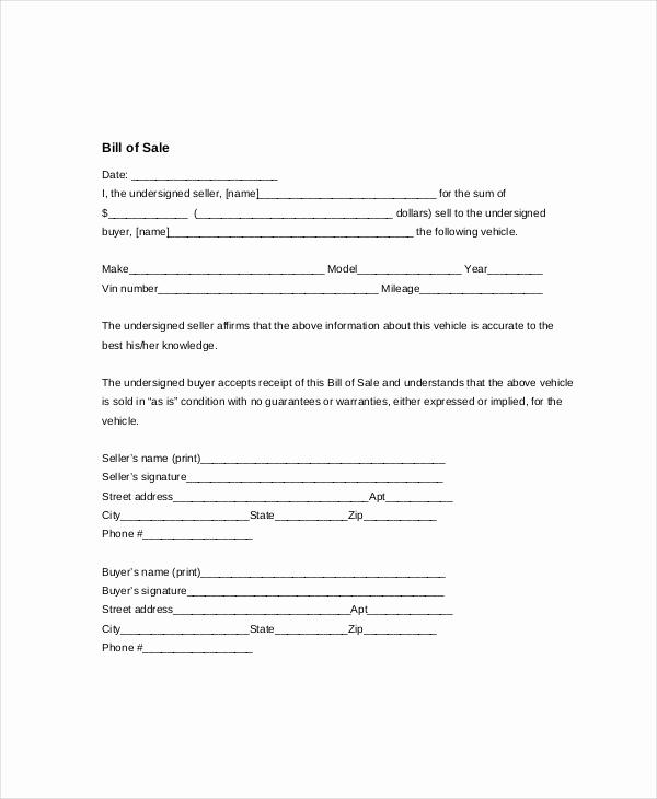 Automotive Bill Of Sale Template Elegant Vehicle Bill Of Sale Template 14 Free Word Pdf