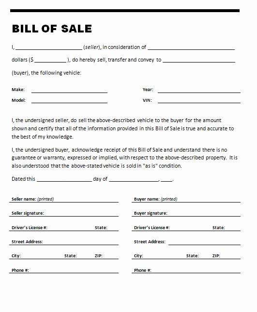 Automotive Bill Of Sale Template Inspirational Car Bill Sale Template