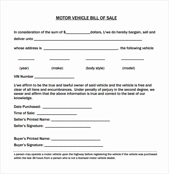 Automotive Bill Of Sale Template New 14 Sample Vehicle Bill Of Sales Pdf Word